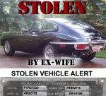 STOLEN VEHICLE ALERT. 1969 E-TYPE FHC STOLEN BY EX-WIFE. 	Worcestershire, UK.